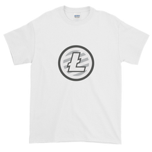 Load image into Gallery viewer, White Short Sleeve T-Shirt With Grey And White Litecoin Logo