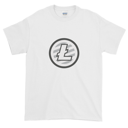 White Short Sleeve T-Shirt With Grey And White Litecoin Logo