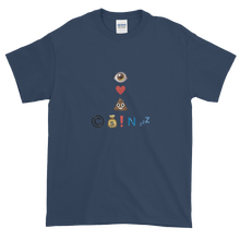 Load image into Gallery viewer, Navy Blue Short Sleeve T-Shirt With Crypto Emoji Joke Logo