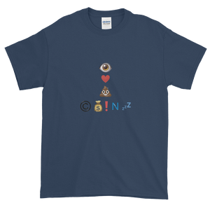 Navy Blue Short Sleeve T-Shirt With Crypto Emoji Joke Logo