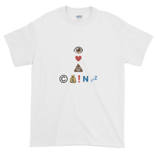 Load image into Gallery viewer, White Short Sleeve T-Shirt With Crypto Emoji Joke Logo