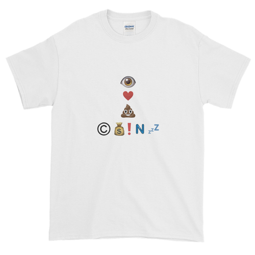 White Short Sleeve T-Shirt With Crypto Emoji Joke Logo