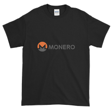 Load image into Gallery viewer, Black Short Sleeve T-Shirt With White, Orange, And Grey Monero Logo