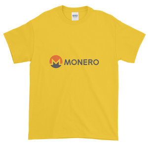 Yellow Short Sleeve T-Shirt With White, Orange, And Grey Monero Logo