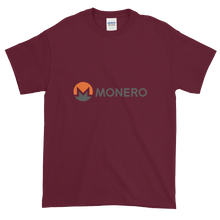Load image into Gallery viewer, Maroon Short Sleeve T-Shirt With White, Orange, And Grey Monero Logo