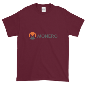 Maroon Short Sleeve T-Shirt With White, Orange, And Grey Monero Logo