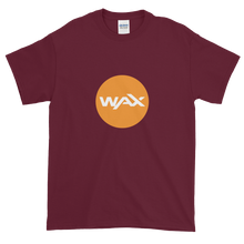 Load image into Gallery viewer, Maroon Short Sleeve T-Shirt With Orange and White WAX Logo