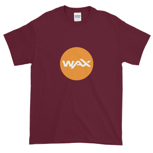 Maroon Short Sleeve T-Shirt With Orange and White WAX Logo