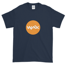 Load image into Gallery viewer, Navy Blue Short Sleeve T-Shirt With Orange and White WAX Logo
