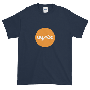 Navy Blue Short Sleeve T-Shirt With Orange and White WAX Logo