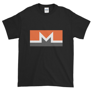 Black Short Sleeve T-Shirt With White, Orange, And Grey Monero Logo