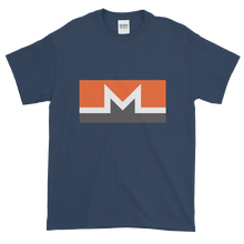 Load image into Gallery viewer, Blue Short Sleeve T-Shirt With White, Orange, And Grey Monero Logo