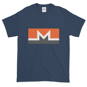 Blue Short Sleeve T-Shirt With White, Orange, And Grey Monero Logo