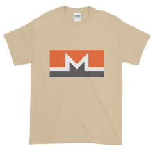 Load image into Gallery viewer, Sand Short Sleeve T-Shirt With White, Orange, And Grey Monero Logo