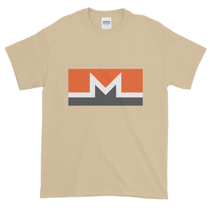 Sand Short Sleeve T-Shirt With White, Orange, And Grey Monero Logo