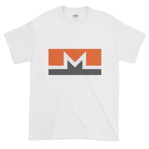 White Short Sleeve T-Shirt With White, Orange, And Grey Monero Logo