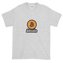 Load image into Gallery viewer, Ash Short Sleeve T-Shirt with Black and Orange Bitcoin Logo