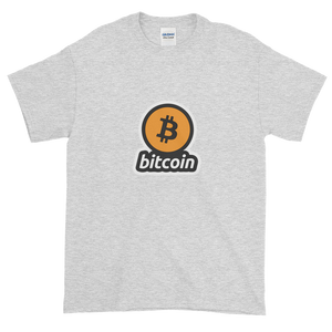 Ash Short Sleeve T-Shirt with Black and Orange Bitcoin Logo