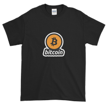 Load image into Gallery viewer, Black Short Sleeve T-Shirt with Black and Orange Bitcoin Logo