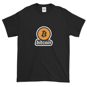 Black Short Sleeve T-Shirt with Black and Orange Bitcoin Logo