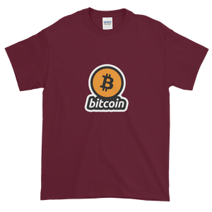 Maroon Short Sleeve T-Shirt with Black and Orange Bitcoin Logo