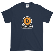 Load image into Gallery viewer, Navy Blue Short Sleeve T-Shirt with Black and Orange Bitcoin Logo