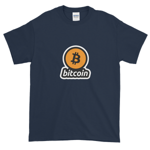 Navy Blue Short Sleeve T-Shirt with Black and Orange Bitcoin Logo