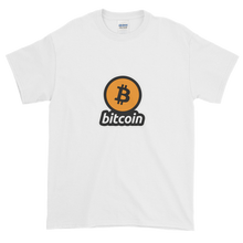 Load image into Gallery viewer, White Short Sleeve T-Shirt with Black and Orange Bitcoin Logo