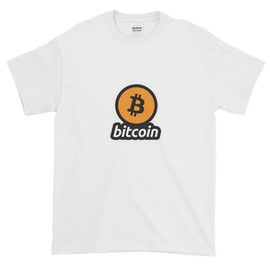 White Short Sleeve T-Shirt with Black and Orange Bitcoin Logo