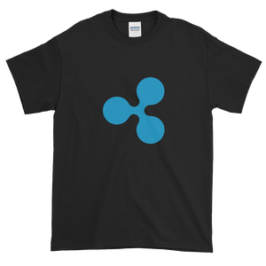 Black Short Sleeve T-Shirt With Blue Ripple Logo