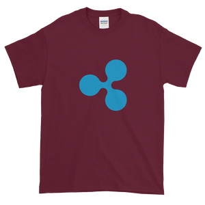 Maroon Short Sleeve T-Shirt With Blue Ripple Logo