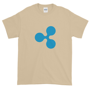 Sand Short Sleeve T-Shirt With Blue Ripple Logo