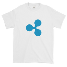 Load image into Gallery viewer, White Short Sleeve T-Shirt With Blue Ripple Logo