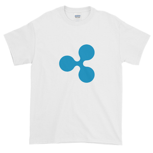 White Short Sleeve T-Shirt With Blue Ripple Logo