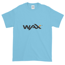 Load image into Gallery viewer, Baby Blue Short Sleeve T-Shirt With Grey and Orange WAX Logo