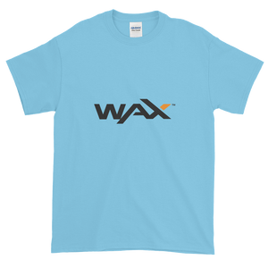 Baby Blue Short Sleeve T-Shirt With Grey and Orange WAX Logo