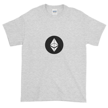 Load image into Gallery viewer, Ash Short Sleeve T-Shirt With White Ethereum Diamond and Black Circle Background