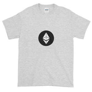 Ash Short Sleeve T-Shirt With White Ethereum Diamond and Black Circle Background