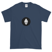 Load image into Gallery viewer, Blue Short Sleeve T-Shirt With White Ethereum Diamond and Black Circle Background