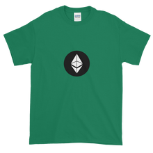 Load image into Gallery viewer, Green Short Sleeve T-Shirt With White Ethereum Diamond and Black Circle Background