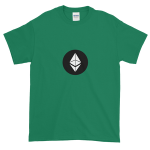 Green Short Sleeve T-Shirt With White Ethereum Diamond and Black Circle Background