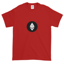 Load image into Gallery viewer, Red Short Sleeve T-Shirt With White Ethereum Diamond and Black Circle Background