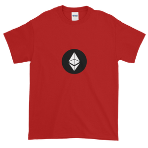 Red Short Sleeve T-Shirt With White Ethereum Diamond and Black Circle Background