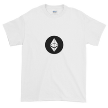 Load image into Gallery viewer, White Short Sleeve T-Shirt With White Ethereum Diamond and Black Circle Background
