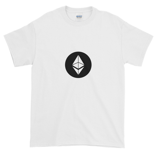 White Short Sleeve T-Shirt With White Ethereum Diamond and Black Circle Background