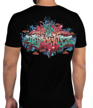 Load image into Gallery viewer, Black Short Sleeve T-Shirt With Krypto Threadz in Graffiti