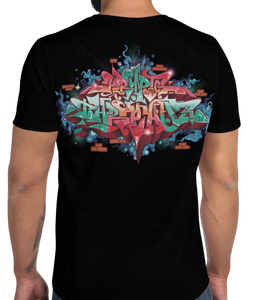 Black Short Sleeve T-Shirt With Krypto Threadz in Graffiti