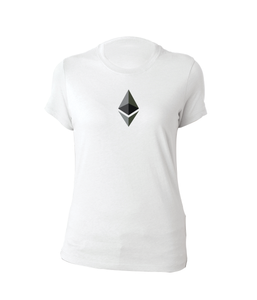 White Short Sleeve T-Shirt With Grey and Black Ethereum Diamond  Logo