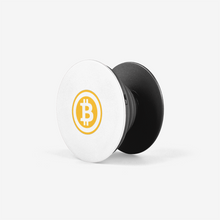 Load image into Gallery viewer, Black Bitcoin Popsocket With White And Orange Bitcoin Logo Side View