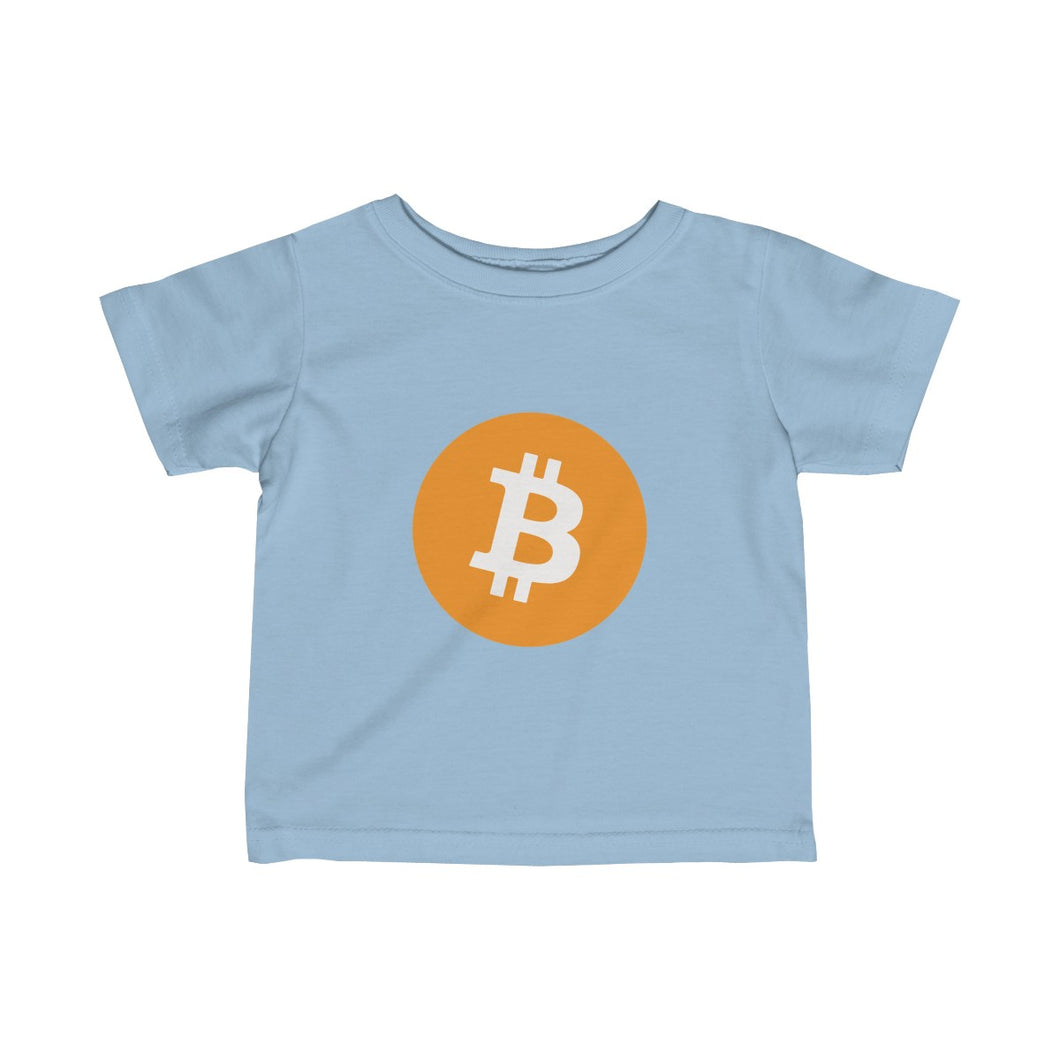 Infants Baby Blue TShirt With Orange and White Bitcoin Logo
